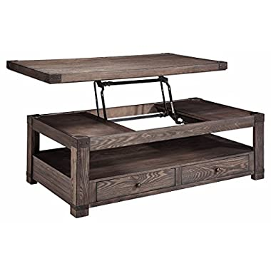 Signature Design by Ashley T846-9 Rectangular Cocktail Table, Washed Gray Brown Finish