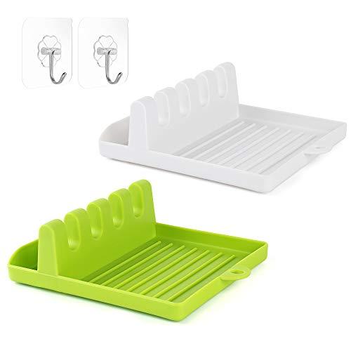 Soporte para utensilios de cocina con almohadilla de goteo, 2 piezas de soporte para cuchara para cocina con diseño colgante, soporte para cucharones, pinzas y tapa (blanco y verde)