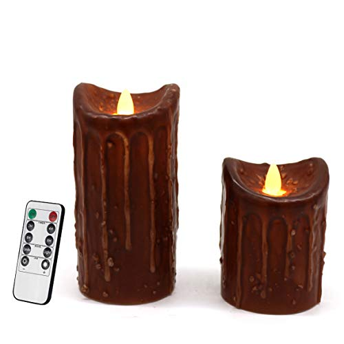 CVHOMEDECO. Real Wax Hand Dipped Battery Operated LED Pillar Candles with Timer and Remote Control, Primitives Rustic Flickering Dancing Flame Lights Décor, H 6 & 4 Inch, Set of 2 (Coffee)