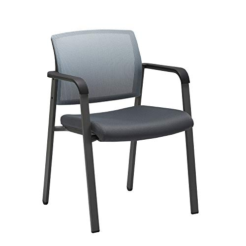 CLATINA Mesh Back Stacking Arm Chairs with Upholstered Fabric Seat and Ergonomic Lumber Support for Office School Church Guest Reception Grey