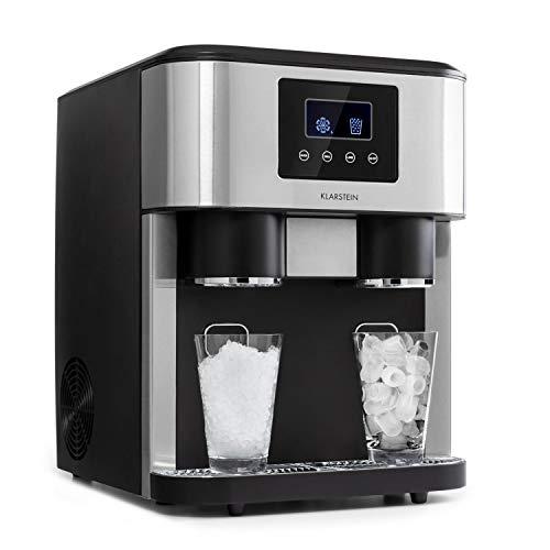 Klarstein Eiszeit Crush - Máquina de hielos 3 en 1, Cubitos, Hielo picado, Agua helada, 2 tamaños de cubitos, 15-18 kg/24h, Pantalla LCD, Depósito de 1,8 L, Volumen para 600 g de hielo, Gris oscuro
