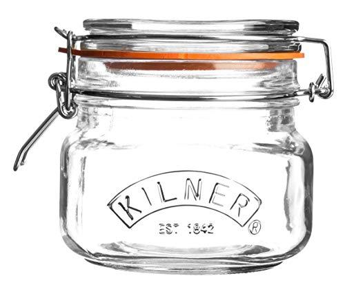Kilner–Tarro para conservas, mermeladas, con base cuadrada y tapa mecánica de clip - Cierre hermético - Capacidad0,5litros