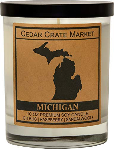 Michigan Kraft Label Scented Soy Candle, Citrus, Raspberry, Sandalwood, 10 Oz. Glass Jar Candle, Made in The USA, Decorative Candles, Going Away Gifts for Friends, State Candles