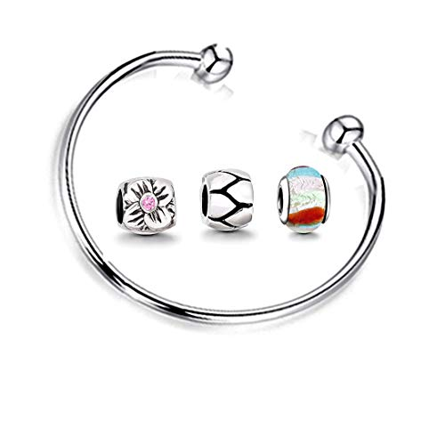 Charms Armband und 3 Anhänger Starter Set Angebot Zirkonia Murano glas bettel Pandora style kompatibel Schmuck Armreif 16cm