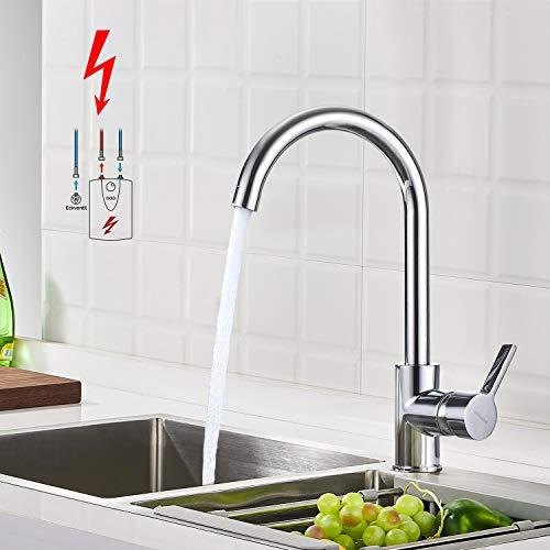 BONADE Niederdruck Armatur Küche Spültischarmatur Schwenkbereich 360° Küchenarmatur Einhebelmischer für drucklose Boiler Küche Spüle Chrom