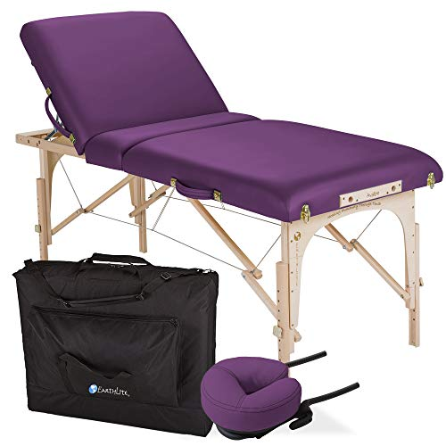 "EARTHLITE Portable Massage Table Package AVALON TILT – Foldable Treatment Table with Tilt Option, Reiki Endplate, Premium Flex-Rest Face Cradle & Strata Cushion, Carry Case (30""x73"")"