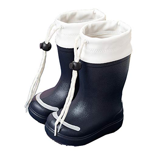 Kids Wellies with Adjustable Shrink Rope EVA Waterproof Non-Slip Wellington Boots for Boys Girls 1-9 Years Old