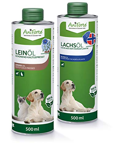 AniForte Bare Oil Set 2 con 500ml Cada uno de Aceite de linaza y Aceite de salmón - Producto Natural para Perros y Gatos, sin aditivos, suplemento de Aceite Desnudo, envase reciclable sin BPA