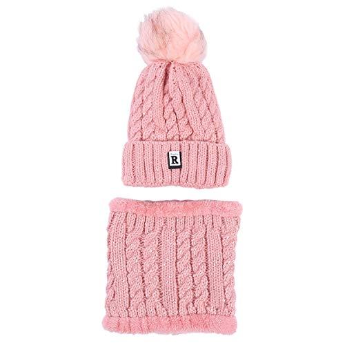 Sombrero y Bufanda Mujer Invierno,TININNA Caliente Gorras Con Scarf de lana de Punto de Esquiar para Chicas-Rosa