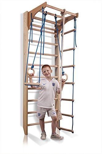 Complejo deportivo de gimnasia'Kombi-2-220', Barras de pared con barra de altura ajustable, Escalera sueca, Gimnasia de los niños en casa