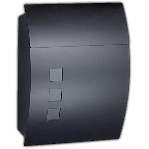 Designer Briefkasten Schwarz | Postkasten Mailbox Zeitung | Design mit satinierten Sichtfenstern. Inkl. Montagematerial & 2 Schlüssel!