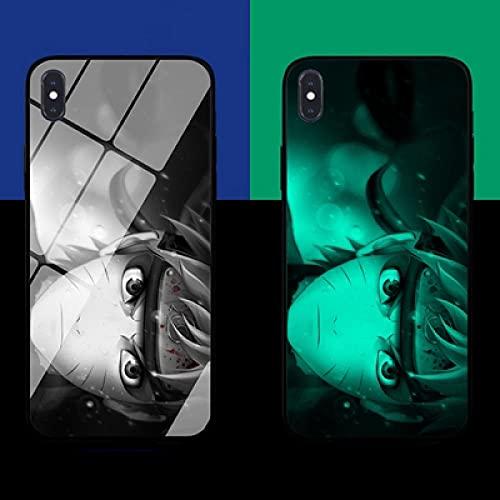 Carcasa de Telefono,Estuche para iPhone con Cordón Funda para Teléfono Brillo Nocturno Serie Anime 3D Carcasa de Vidrio Templado Moda Genial Compatible con iPhone 6S Plus