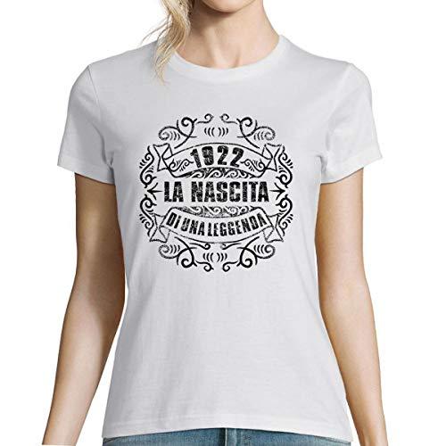 Planetee 1922 La Nascita du Una Leggenda |T-Shirt Bianca Donna Collection Compleanno |Maglietta Umoristica XXL