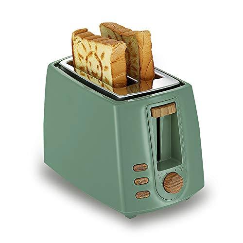 YHML Toaster, Ultra-Breitschlitz-Toaster Aus Kompaktem Edelstahl Für Brotwaffeln, Auftauen/Wiedererhitzen, Vintage Toaster 2, Herausnehmbarer Chipbehälter,Olivegreen
