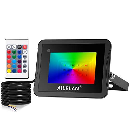 AILELAN Faretto LED RGB 10W, Impermeabili IP66 Proiettore RGB con Telecomando Ideale per Esterni & Interni [Classe energetica A +]