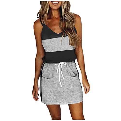 URIBAKY - Vestido bohemio para mujer, diseo bohemio, cuello redondo, vestido de playa, vestido de sol, tamao pequeo, informal, vestido de noche, estilo retro, vestido de cctel A-negro. XL