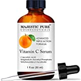 MAJESTIC PURE Vitamin C Serum for Face - Topical Antioxidant Facial Serum with L - ascorbic Acid - Promotes Natural Skin Care and Anti Aging - Fights Acne, Age Spots and HyperPigmentation - 1 fl. oz