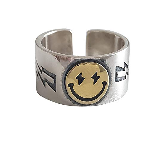 Smiley Face Ring Wide Chunky Adjustable Vintage Silver Smiling Open Ring for Women Men (Style 1)