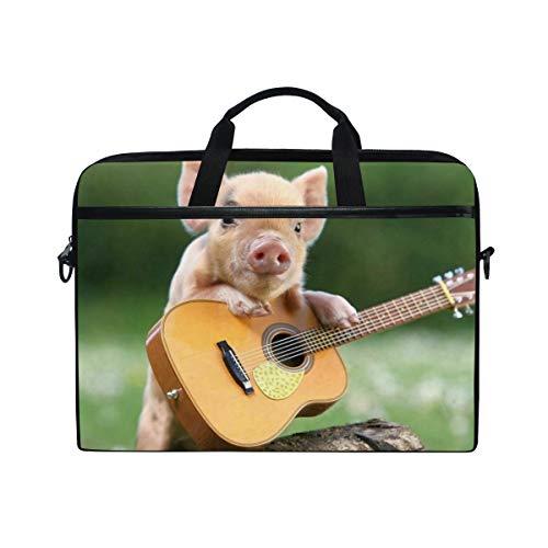 EZIOLY Pig Piggy Guitar Player Laptop Shoulder Messenger Bag Case Sleeve for 13 Inch to 14 inch Laptop