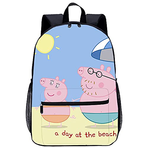 KKASD Póster de Peppa Pig, mochila impresa en 3D, mochila unisex, mochila informal para adultos con personalidad, mochila para niños de 45x30x15cm