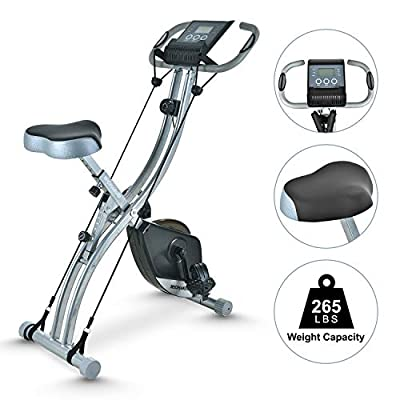 TECHMOO Folding Magnetic Stationary X Exercise Bike Upright Recumbent Exercise Bike Folding Fitness Home X Exercise Bike Indoor Cycling Bicycle for Workout Machine Cardio Workout Losing Weight(Black)
