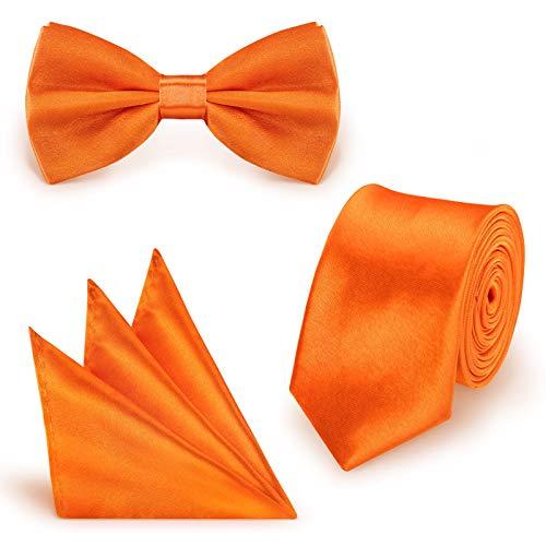 StickandShine Set cravatta papillon fazzoletto da taschino arancione tinta unita in poliestere