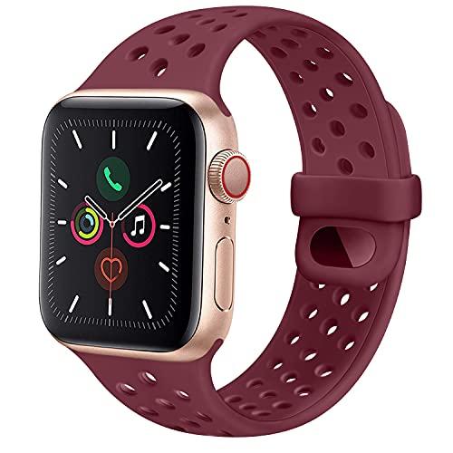 CTZL Correa Compatible con Apple Watch 44mm 42mm 40mm 38mm, Pulseras de Repuesto de Silicona Suave para iWatch Series SE 6 5 4 3 2 1 Mujer Hombre (42mm/44mm M/L, Vino Rojo)