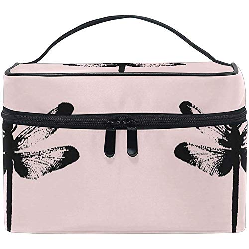 Grand Voyage Maquillage Train Case Dragonfly Rose Transportant Portable Zip Cosmétique Brosse Sac Maquillage Sac Organisateur