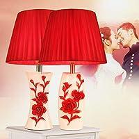 韓国のセラミックテーブルランプ寝室ベッドサイドランプ暖かい牧歌的なランプ現代の結婚式のバラ創造的なギフトテーブルランプ女の子の部屋(色:赤Mr +ミス)