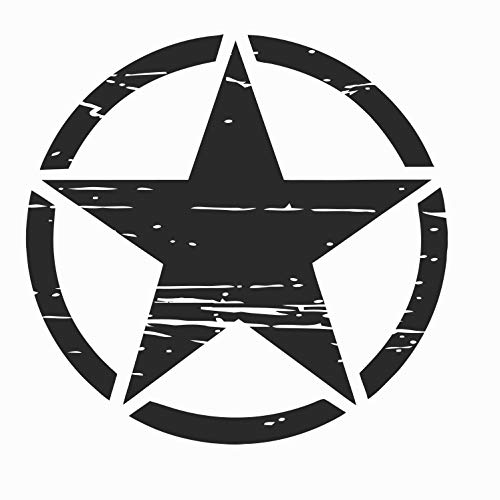 Auto Aufkleber ARMY Militär Stern Sticker Wandtattoo Wandaufkleber USA Star Armee Amerika (M 50cm x 50cm, Schwarz)
