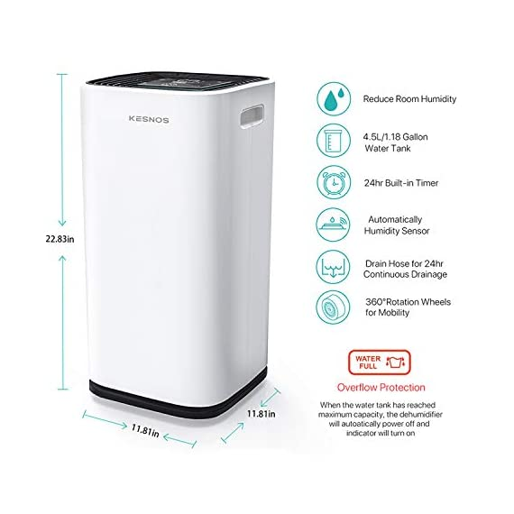 Kesnos 70 pint dehumidifiers for spaces up to 4500 sq ft at home and basements pd253d,white 3 kesnos dehumidifier for spaces up to 4500 sq ft - our dehumidifier removes up to 70 pint (50 pint new doe 2019) of moisture per 24 hours, fit for medium to large rooms in areas up to 4, 500 sq. Ft. And is able to adjust humidity from 30% to 85%, you can maintain a healthy 45%-55% humidity range easily! A dehumidifier perfect for home, basements, office, bathroom, bedroom, kitchen, stockroom, living room, laundry room, cellars, crawlspace by removing humidity. Unique design for the modern home - the kesnos dehumidifiers designed with sleek and modern look. With 360° easy-roll hidden wheels and ergonomically recessed handles, you can move around this dehumidifier easily. It is quiet operation that won't disturb you when you sleep or at work and adjustable fan speeds for multiple choices. With dry clothes function, you simply place the dehumidifier in a room where you can hang the wet clothes and let it dry clothes naturally. Easy to use dehumidifiers - simply adjust to your ideal moisture setting, then let it run its continuous 24-hour cycle until the tank is full, at which point it will automatically shut-off. 2 drainage options for your draining choices: auto drain: the with included 6. 56 feet drain hose for continuously auto-drain your dehumidifier without emptying the water bucket. Manual drain: the 1. 18 gallons water tank and bucket full indicator lets you know when the water bucket needs to be emptied.