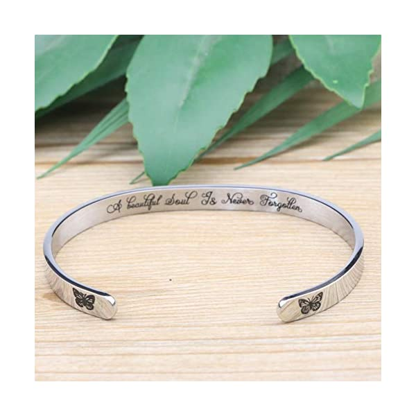 MEMGIFT Memorial Bracelet in Memory of Jewelry Gift Remembering Loss of One You Loved Cuff Bracelets