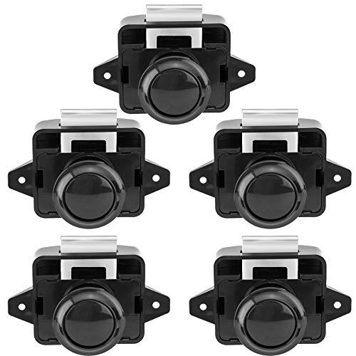 OCGIG 5 cerraduras de botón para puerta de gabinete para caravana, autocaravana, furgoneta, armario, perilla negra