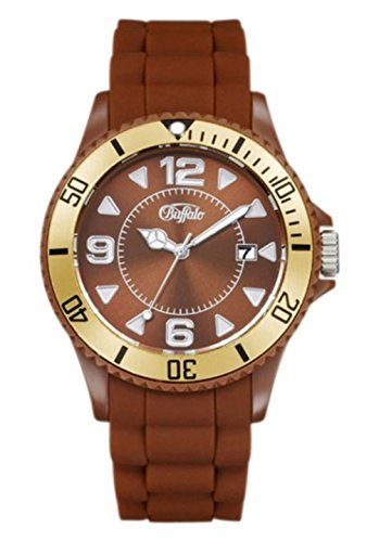 Buffalo Armbanduhr mit Silikonband braun/gold Quartzwerk und Mineralglas