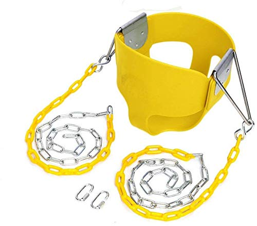 JOYMOR Toddler Swing Extra Long Chain with 2 Carabiners High Back Full Bucket Seat with Coated Swing Chains for Kids Outdoor Fully Assembled (Yellow)
