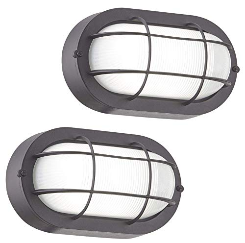 Gruenlich LED Bulkhead Light Worked as Wall Lantern Wall Sconce or Flush Mount Ceiling Light, 6W Replace 60W, 520 Lumen, Dimmable 5000K Daylight White, Water-Proof for Outdoor, 2-Pack
