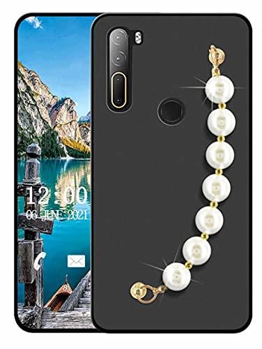 Sunrive Funda Compatible con HTC U20 5G, Colgante movil con Cuerda Rhinestone Crystal Silicona Mate Slim Fit Gel Carcasa Case Bumper Espalda Cover Pulsera(L Perla)
