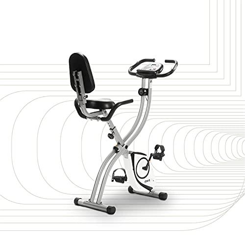 SportPlus Heimtrainer klappbar mit Rückenlehne - 8 Widerstandsstufen, leises Magnetbremssystem, Pulsmessung über Sensoren, SP-HT-1003