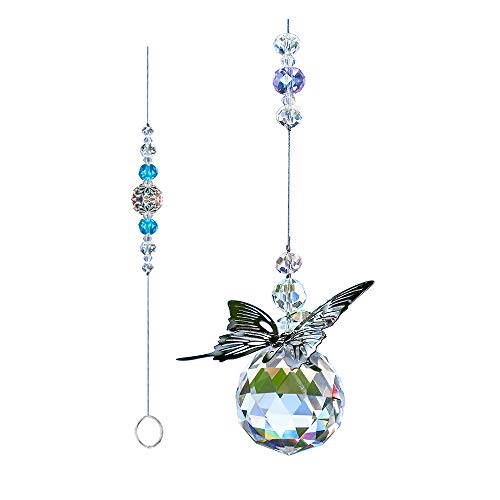 WEISIPU Crystal Hanging Decorations  Hanging Ornament Crystals Butterfly Suncatchers with Clear Crystal Ball for Home Office Garden Decoration Window Decorations Hanging