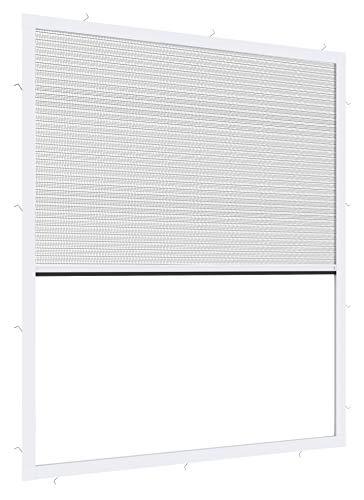Windhager Expert Plissee Fenster Ultra Flat, Insektenschutz für Fenster, Fliegengitter, Mosquitoschutz, individuell kürzbar, 130 x 150 cm, weiß, 03244