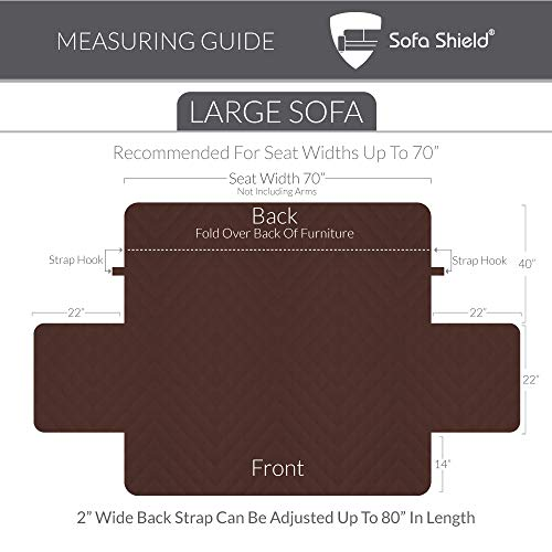 "The Original SOFA SHIELD Reversible Couch Slipcover Furniture Protector, 2 Inch Elastic Strap, Machine Washable, Cover Perfect for Pets and Kids, Seat Width Up to 70"" (Sofa: Black/Gray)"