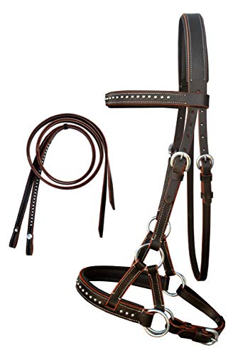 English Western Horse Leather BITLESS Bridle SIDEPULL Halter REINS Brown 7708BRF