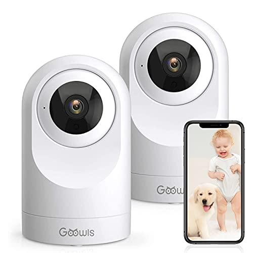 Überwachungskamera Innen, Goowls 2 Stück WLAN IP Kamera 1080P Hundekamera mit Bewegungsmelder, Nachtsicht Alert und Zwei-Wege-Audio, Babyphone mit App für Smartphone, Kompatibel mit Alexa
