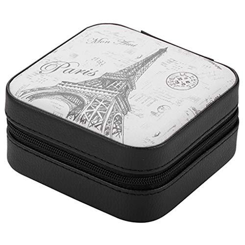 LICHUAN Caja Joyero Caja de joyería con el Espejo de Maquillaje Organizador de Viajes Caso del Anillo Pendientes portátil Collar de Accesorios de baño Organizador de Joyas (Color : B)