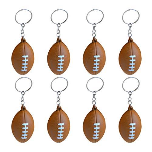 LIOOBO 18 Stücke American Football Schlüsselanhänger Rugby Pu Schlüsselanhänger Souvenirs Anhänger Spielzeug für Spieler Sportler Jungen Teamkollegen Braun