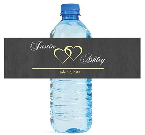 100 Modern Hearts Wedding Pattern Wedding Water Bottle Labels