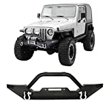 Front Bumper Winch Plate D-Ring Rock Crawler Black For 1986-2006 Jeep Wrangler TJ YJ