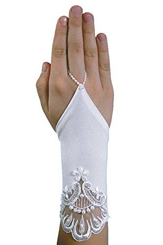 YES Schicke Kurze Fingerlose Kommunionhandschuhe Handschuhe zur Kommunion, Spitze, Perlen, Mädchen KA-42