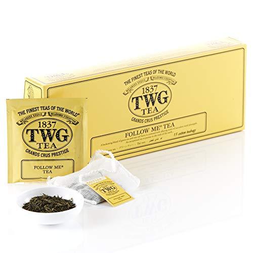 TWGTea | Follow Me Tea, Grünteemischung in 15handgenähten Teebeuteln aus Baumwolle in einer Geschenkbox, 37,5g