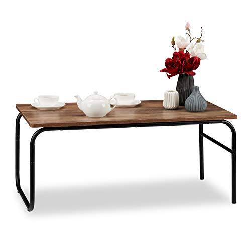 Relaxdays Couchtisch, Industrial Design, rechteckig, niedrig, Materialmix, Holzoptik, Wohnzimmertisch, braun/schwarz